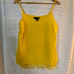 Rachel Zoe -Sleeveless Yellow Top with Lace Trim M
